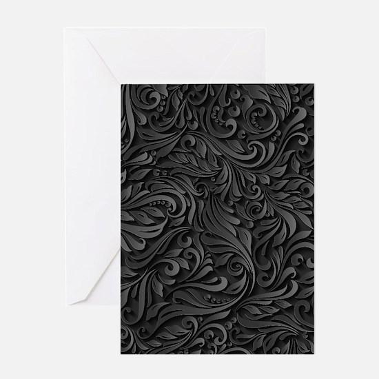 Black Flourish Greeting Card