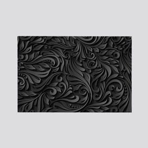 Black Flourish Rectangle Magnet