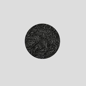 Black Flourish Mini Button