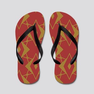 Red and Gold Diamonds Flip Flops