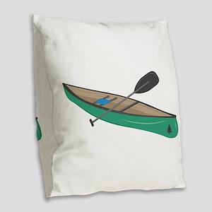 Canoe Burlap Throw Pillow