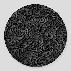 Black Flourish Round Car Magnet