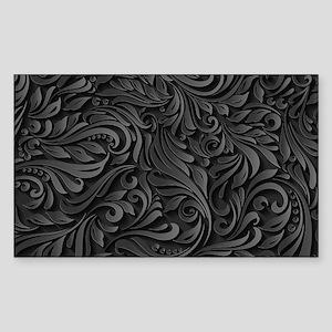 Black Flourish Sticker (Rectangle)