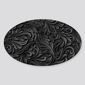 Black Flourish Sticker (Oval)