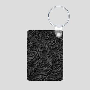 Black Flourish Aluminum Photo Keychain