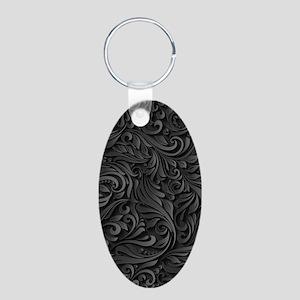 Black Flourish Aluminum Oval Keychain