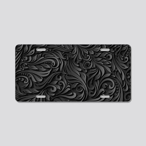 Black Flourish Aluminum License Plate