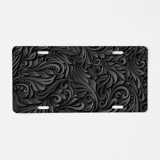 Black Flourish Aluminum License Plate