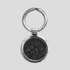 Black Flourish Round Keychain