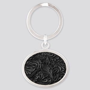 Black Flourish Oval Keychain