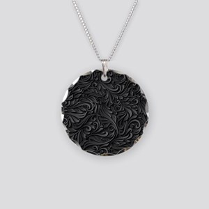 Black Flourish Necklace Circle Charm