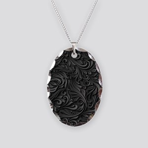 Black Flourish Necklace Oval Charm