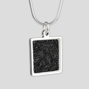 Black Flourish Silver Square Necklace