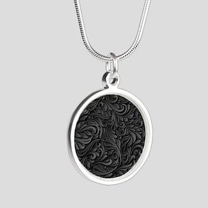 Black Flourish Silver Round Necklace