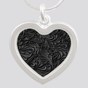 Black Flourish Silver Heart Necklace