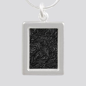 Black Flourish Silver Portrait Necklace