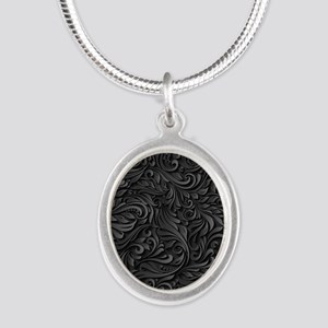 Black Flourish Silver Oval Necklace