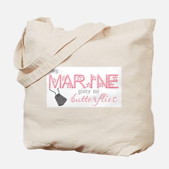 My Marine gives me butterflie Tote Bag