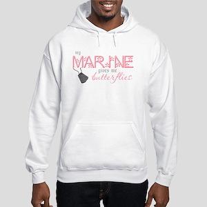 My Marine gives me butterflie Hooded Sweatshirt