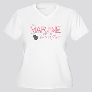 My Marine gives me butterflie Women's Plus Size V-