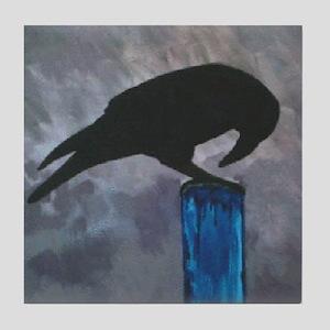 Black Crow on Post Art Tile