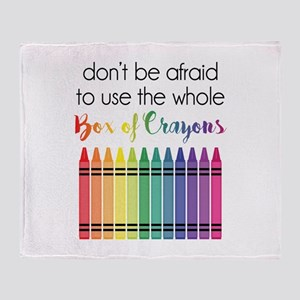 Box Of Crayons Throw Blanket