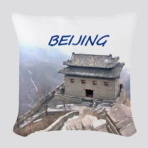 Beijing And The Great Wall Woven Throw Pillow