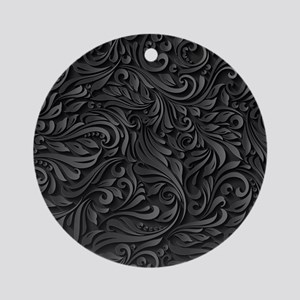 Black Flourish Round Ornament