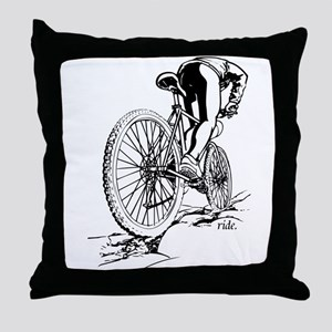 Ride. Mountain Biker Throw Pillow