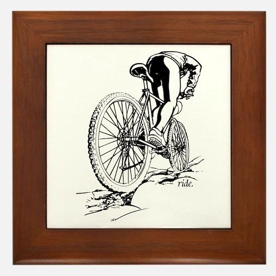 Ride. Mountain Biker Framed Tile