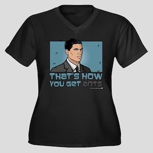 Archer Get A Women's Plus Size V-Neck Dark T-Shirt