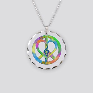 Peace Love Music Necklace Circle Charm