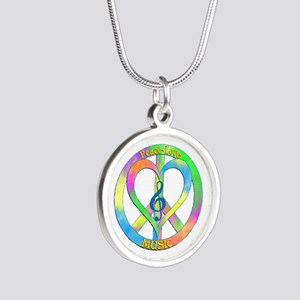 Peace Love Music Silver Round Necklace