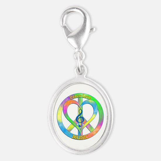 Peace Love Music Silver Oval Charm