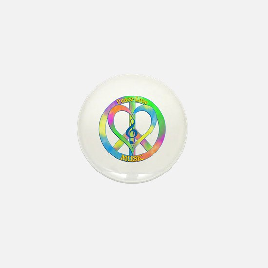 Peace Love Music Mini Button