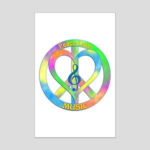 Peace Love Music Mini Poster Print