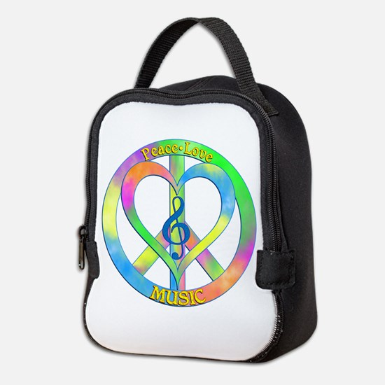 Peace Love Music Neoprene Lunch Bag