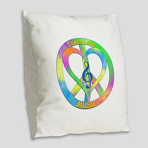 Peace Love Music Burlap Throw Pillow