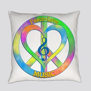 Peace Love Music Everyday Pillow