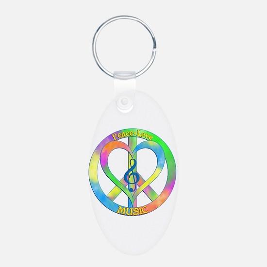 Peace Love Music Keychains