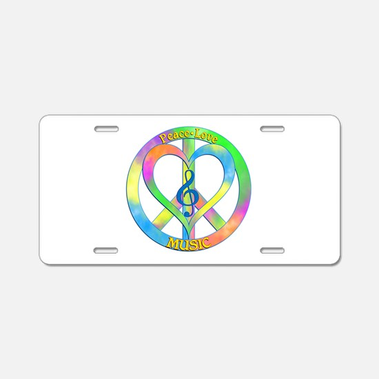 Peace Love Music Aluminum License Plate