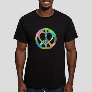 Peace Love Music Men's Fitted T-Shirt (dark)
