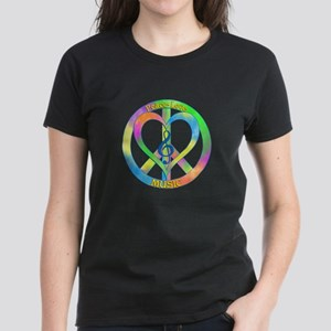 Peace Love Music Women's Dark T-Shirt