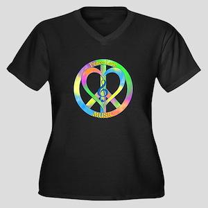 Peace Love M Women's Plus Size V-Neck Dark T-Shirt