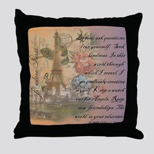 ParisABCDE12 Throw Pillow