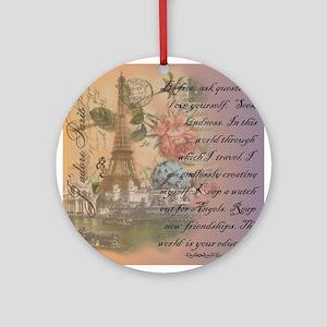 ParisABCDE12 Round Ornament