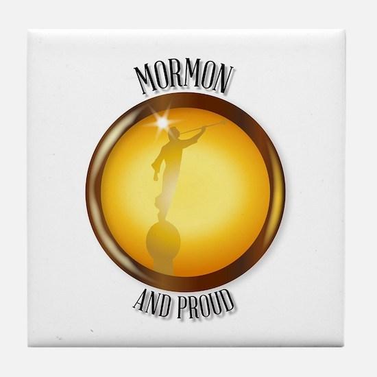 Mormon And Proud Button Tile Coaster