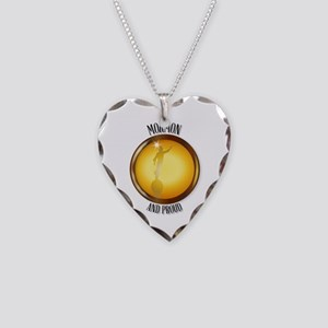 Mormon And Proud Button Necklace Heart Charm