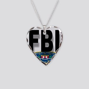 FBI Seal With Text Necklace Heart Charm