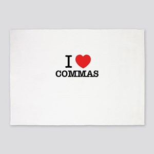 I Love COMMAS 5'x7'Area Rug